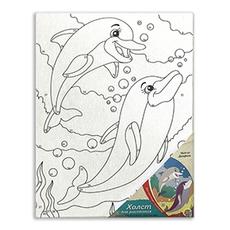 """Холст на картоне  18х24 см """"Дельфины"""" Х-9685 1"""