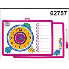 Доска-часы двусторонняя с маркером (розовая) 62757 1