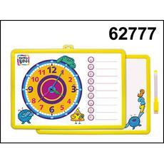 Доска-часы двусторонняя с маркером (желтая) 62777 1