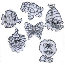 "Витражи-мини ""Рыбка, бабочка, лев, клоун, черепаха, кораблик"" 6 шт. 23860 1"