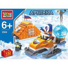 "Конструктор ""Арктика"" полярник на снегоходе, с фигурками 132 дет. 2504-R 1"