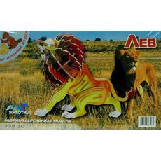 Лев цветной (дерево) Е013с 1