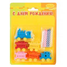 """Набор свечей с держателями """"Паровозик"""" (в упаковке 6 шт) 1"""