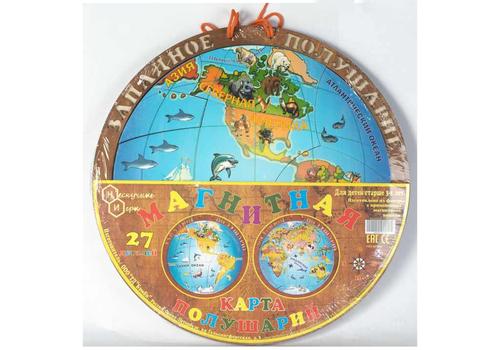 Магнитная карта полушарий 7842 2 сторонняя, 27 деталей 1