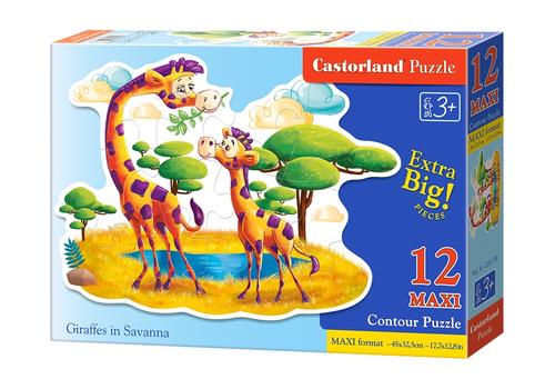 """Пазл 12 MAXI  """"Жирафы в Саванне"""" B-120178 1"""